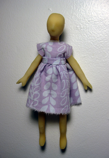 "Doll, 4x8"", Polymer Clay, Vintage Textiles, Cotton, Polyester, 2012"