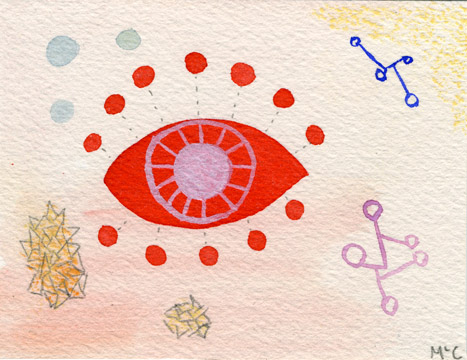 "Elemental Eye, 2013. 4"" x 3"". Watercolour, graphite and conte crayon on Arches 140lb cold press."