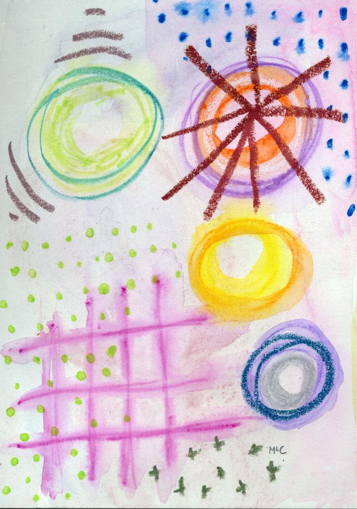 "Abstract I, 5"" x 7"", mixed media on paper, 2014"